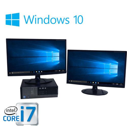 中古パソコン デュアルモニタ 22型大画面ワイド液晶/DELL 7010SF/Core i7 3770(3.4GHz)/メモリ4GB/HDD500GB/DVDマルチ/Office2016_kingsoft/正規OS Windows10 Home 64bit ライセンスキ-、リカバリメディアあり/0106D