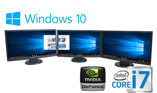 中古パソコン 3画面 大画面23型フルHD/DELL 9020MT/Core i7 4770(3.4Ghz)/メモリ8GB/HDD2TB(新品)/GeforceGT710 HDMI/DVDマルチ/Windows10 Home 64bit/0776m