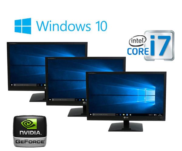 中古パソコン ゲ-ミングPC 3画面 24型フルHD/DELL 9010MT/Core i7 3770(3.4GHz)/爆速メモリ16GB/HDD2TB(新品)/GeforceGTX1050/Windows10 Home 64bit/0817x