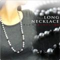 ロングネックレス 73cm あこや真珠&オニキス