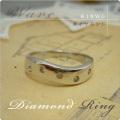 ダイヤモンド K18WGリング Wave