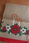 【クリスマス】ジュート(黄麻)のクロス/ポインセチアとキャンドル