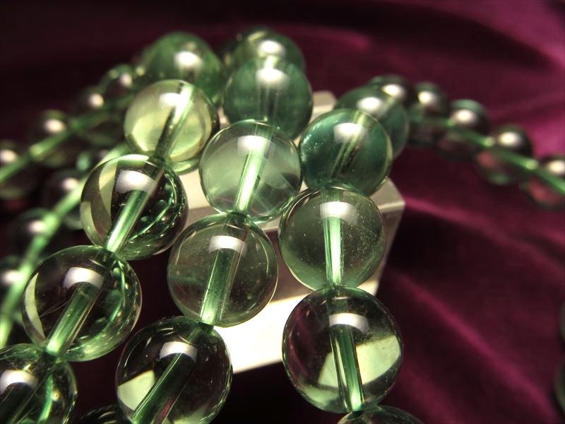◆極上透明!◆濃く鮮やかなグリーン!◆激安◆グリーンフローライトブレス◆グラム100円◆【蛍石】◆11.5-12mm×17珠前後◆