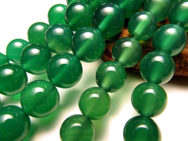 ★グリーンアゲート【緑瑪瑙】★10mm珠★一連★約40cm★
