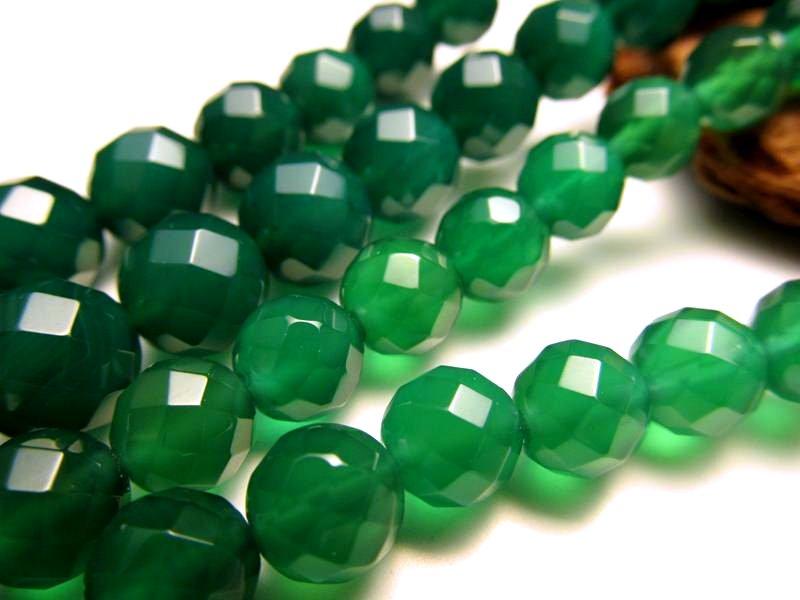 ★カット★グリーンアゲート【緑瑪瑙】★8mm珠★一連★約40cm★
