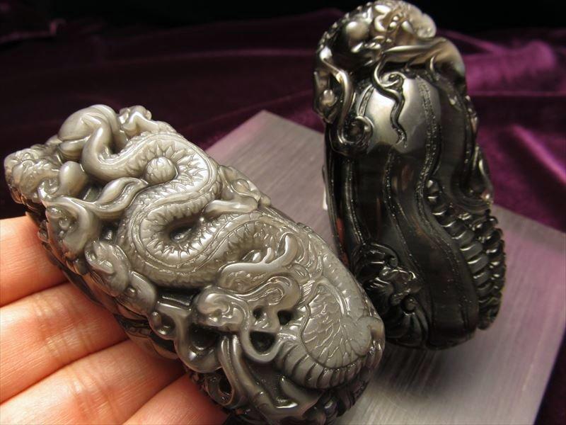 オブシディアン龍彫りタンブル