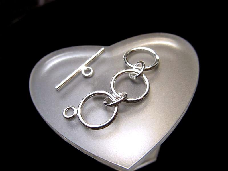 ◆高級・高品質Silver925パーツ◆リング幅約10mm◆1個599円◆アジャスタートグル留め金具◆SS007◆