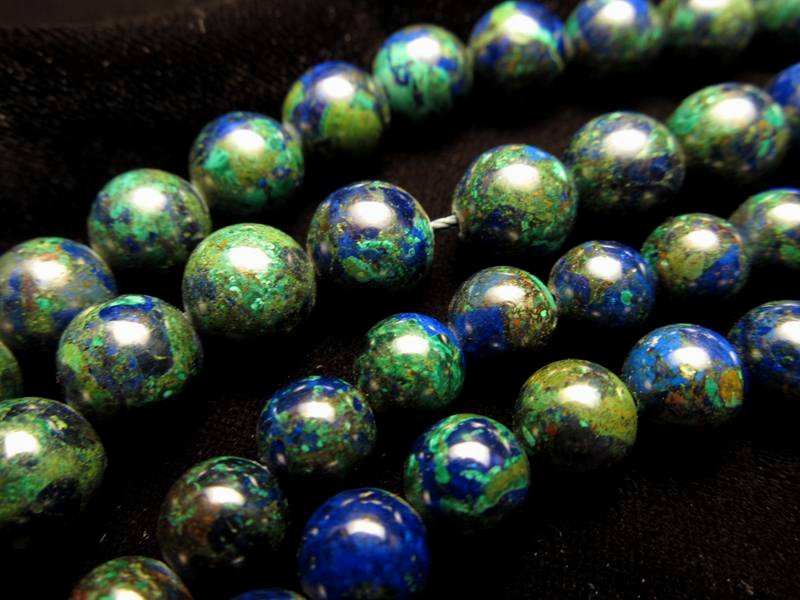 ★6mm珠★一連★美品★アズライトマラカイトAAA【藍銅鋼】★約40cm★