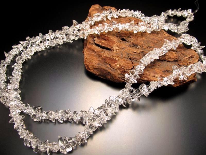◆透明・美品◆激安!◆天然水晶◆水晶さざれ連◆サイズ約5-10mm◆長さ約86cm◆