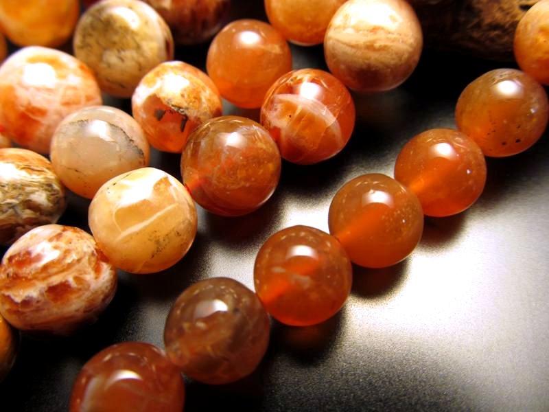 ◆希少!◆情熱色◆8mm珠◆一連◆ファイアオパール◆約40cm◆【タンザニア産】