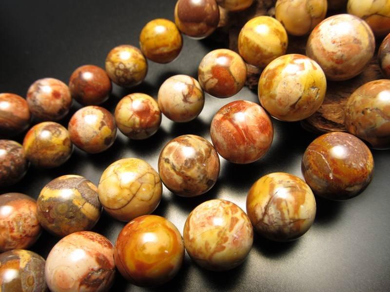 ◆希少!◆メキシコ産◆12mm珠◆一連◆ライオライト【流紋岩】◆約40cm◆