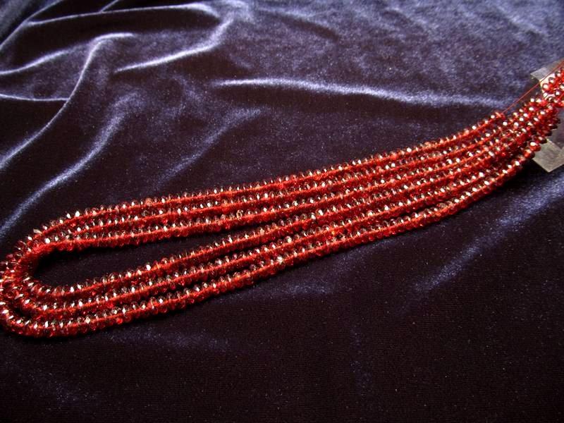 ◆宝石質ネックレス&ブレスパーツ◆宝石質5A ガーネット 【0.3mmワイヤー通し 約40cm】◆ジャーマンカット 約5mm◆