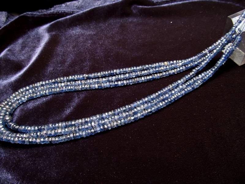 ◆宝石質ネックレス&ブレスパーツ◆宝石質5A  カイヤナイト 【0.3mmワイヤー通し 約40cm】◆ボタンカット 約4.5mm◆