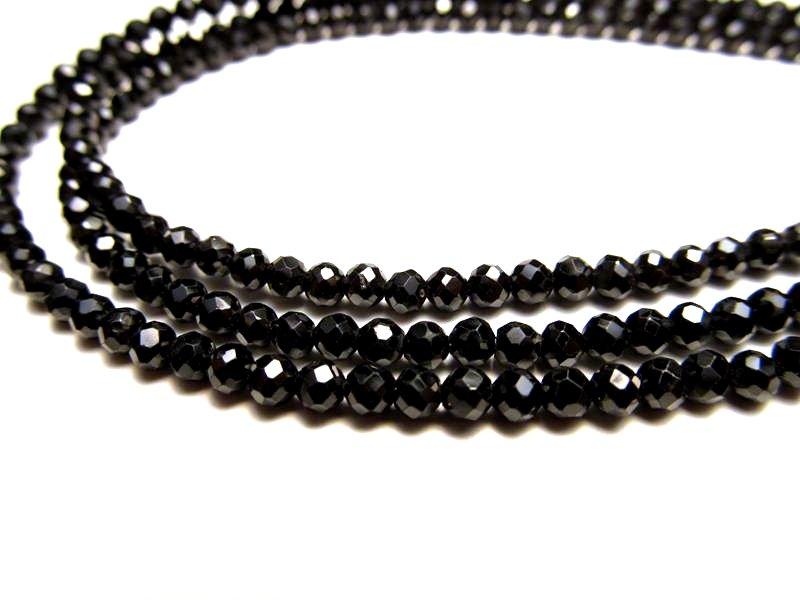 ◆宝石質ネックレス&ブレスパーツ◆AAA  ブラックスピネル 【0.5mmワイヤー通し 約40cm】◆ボールカット 約2.6mm◆