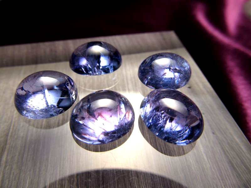 ◆5A・ジェムクォリティー◆5個セット31500円◆宝石質タンザナイト ルース【オーバルラウンド】◆サイズ:12×10mm 厚み6mm◆