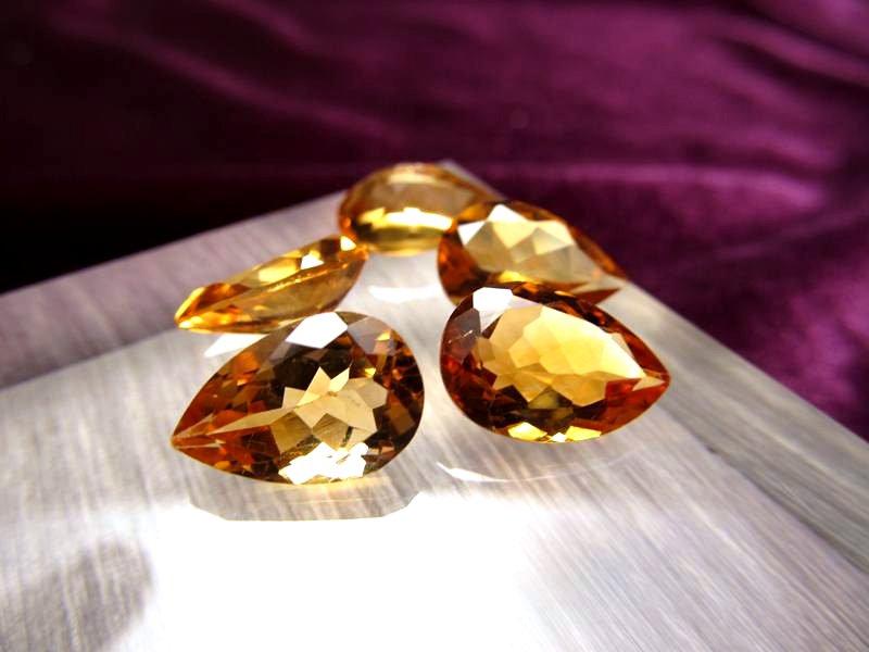◆5A・ジェムクォリティー◆5個セット6750円◆宝石質シトリン ルース【ペアシェイプカット】◆サイズ:12×8mm 厚み5.5mm◆