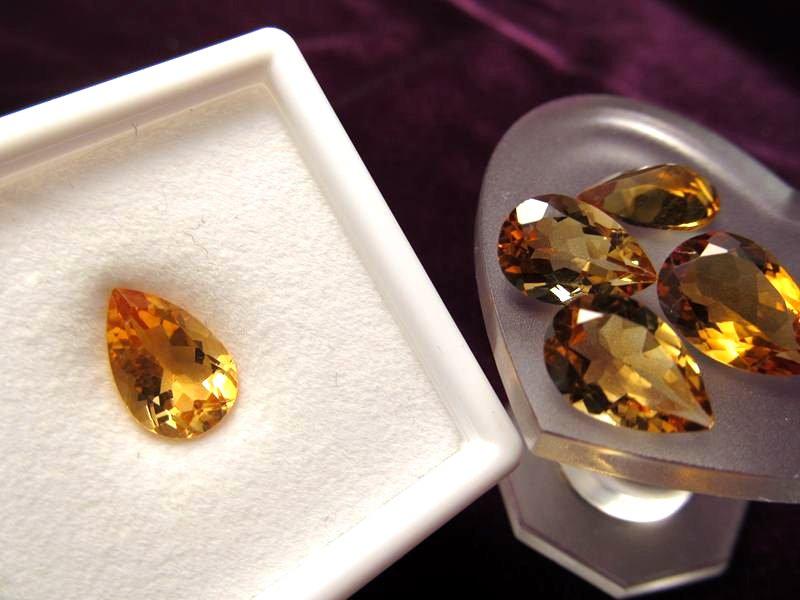 ◆5A・ジェムクォリティー◆1個1500円◆宝石質シトリン ルース【ペアシェイプカット】◆サイズ:12×8mm 厚み5.5mm◆