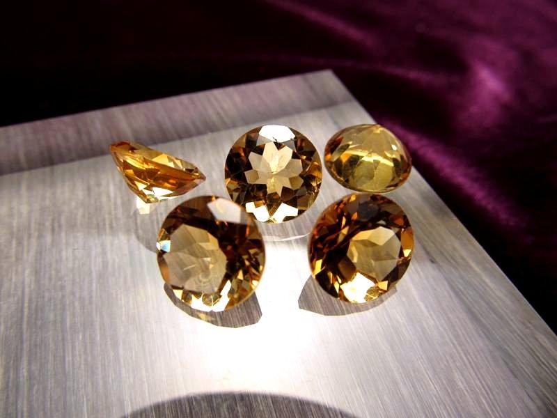 ◆5A・ジェムクォリティー◆5個6750円◆宝石質シトリン ルース【ラウンドカット】◆サイズ:10×10mm 厚み6.0mm◆