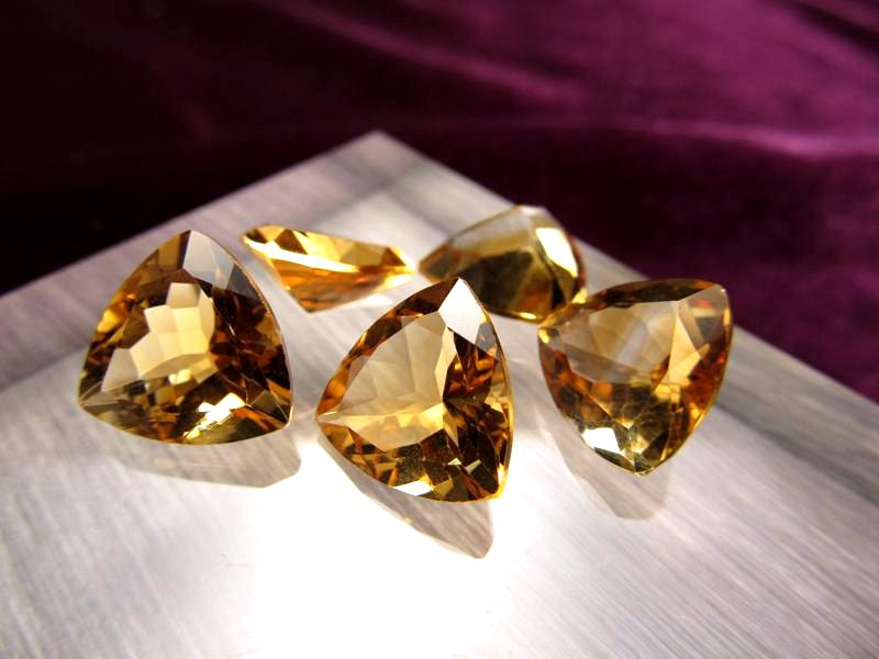 ◆5A・ジェムクォリティー◆5個セット11250円◆宝石質シトリン ルース【トリリアントカット】◆サイズ:12mm 厚み6.5mm◆