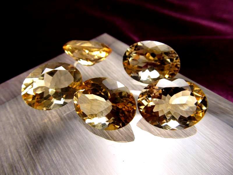 ◆5A・ジェムクォリティー◆5個セット18000円◆宝石質シトリン ルース【オーバルカット】◆サイズ:16×12mm 厚み7mm◆