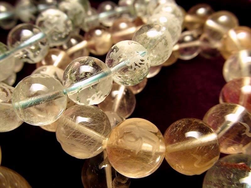 水晶彫り珠ブレス詰合せ