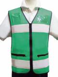 スマホ/携帯ポケット付き防犯パトロールベスト(緑メッシュ×白テープ)