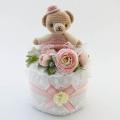 世界に1つだけのプレミアムな出産祝い☆くまのストロベリーちゃんのおむつケーキSサイズ☆