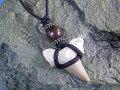 シンプルデザイン★サメ歯化石チョーカー(ネックレス)【ウッドビーズ】
