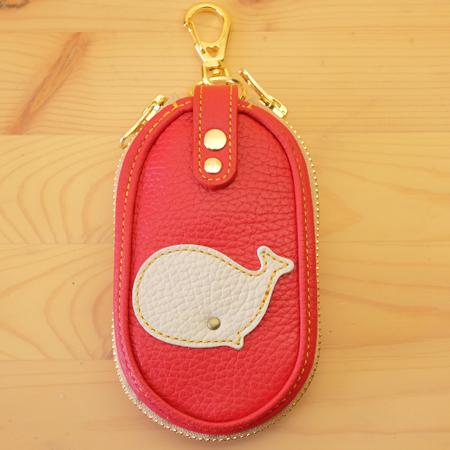 クジラのキーケース:スマートキー対応:可愛い革小物