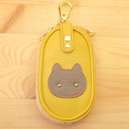 猫のファスナー式キーケース:スマートキー対応:ハンドメイド革小物