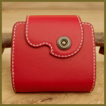 可愛いハーフ レザーウォレット:手作り二つ折り革財布