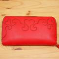 手作りの可愛いハートの長財布:レザーウォレット:ラウンドファスナー革財布