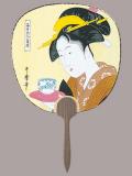 F217 歌麿お茶美人(浮世絵都うちわ)/15本入 都うちわ