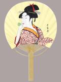 F6708 歌麿(ビードロ)(ミニ竹うちわ)/25本入 竹製うちわ