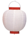 Z2900 9号丸洋紙提灯 白・赤枠25×35cm【ちょうちん】