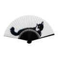 F5651 イラスト猫扇子(画:村上ゆたか) 7寸35間 約22.5cm Hachiware(ハチワレ) 専用一本箱付【メール便可】