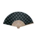 F5967 唐木中彫 布貼 千鳥(紺)【涼風布貼扇子】