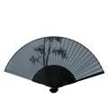 F5990 黒染 竹【絹貼扇子】