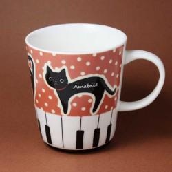 黒猫 鍵盤 発想記号 音楽グッズ 音楽雑貨