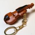 ヴァイオリン 弦楽器 本革製 キーホルダー 音楽雑貨 音楽グッズ 音楽ギフト 楽器グッズ