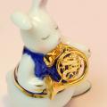 音楽雑貨 磁器 フィギュア ドリーズラビット Dolly's rabbit フレンチホルン うさぎ