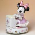 Disney ミニー ピアノ オルゴール 磁器 レース人形 音楽雑貨 音楽グッズ 音楽ギフト