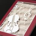 グリーティングカード,ヴァイオリンと楽譜の切り絵,音楽雑貨,音楽グッズ