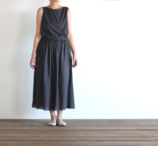 evam eva  エヴァムエヴァ cotton gather skirt