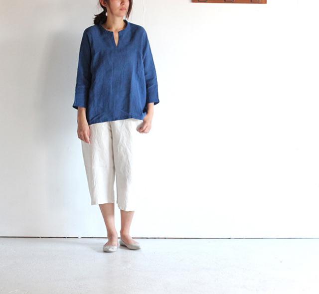 evam eva /エヴァムエヴァ crepe linen pullover