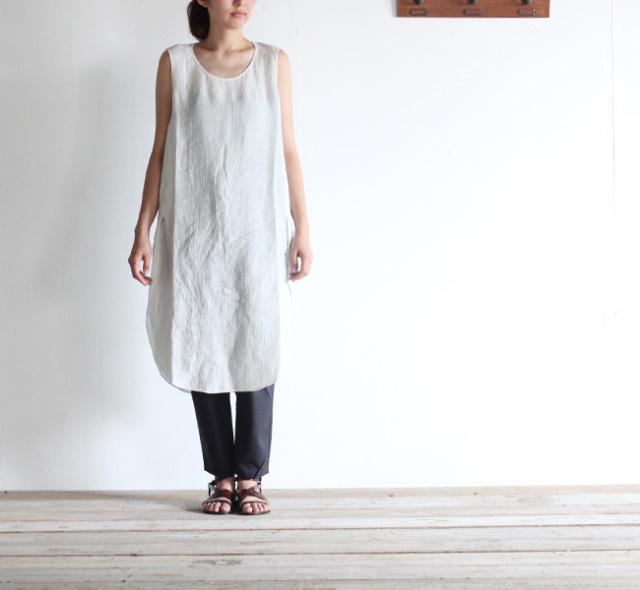 evam eva  エヴァムエヴァ linen sleeveless slit one-piece