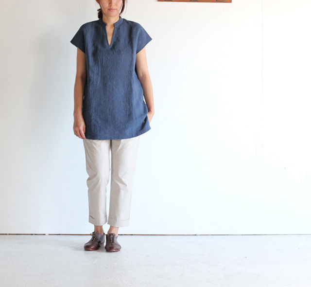 evam eva /エヴァムエヴァ crepe linen shirt tunic
