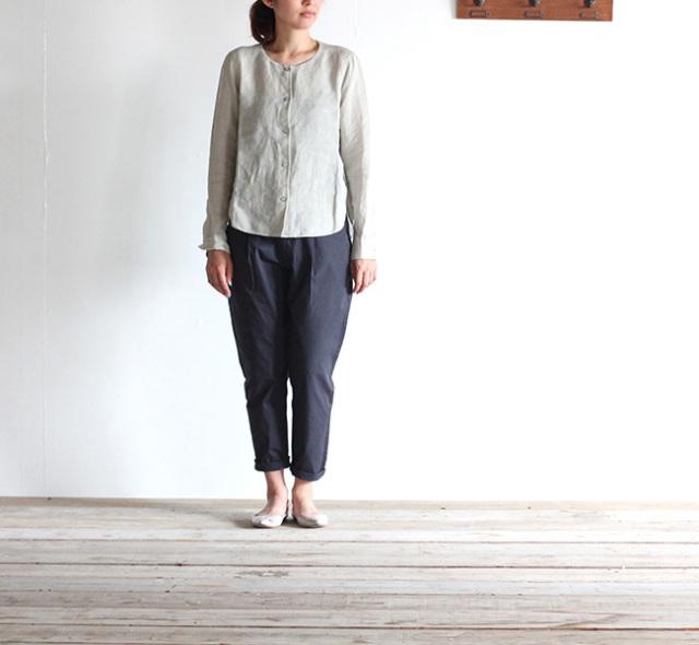 evam eva  エヴァムエヴァ linen slit shirt