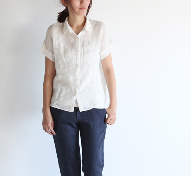 evam eva /エヴァムエヴァ crepe linen shirt