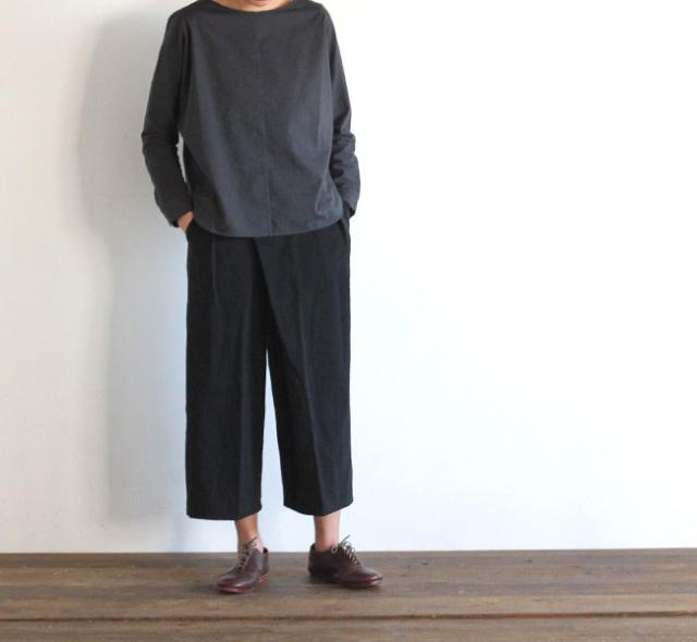 evam eva  エヴァムエヴァ cotton linen twill wrap pants